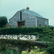 View of house across sheep filled road